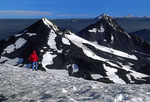 The volcanoes of the Cascade Range viewed from the summit of the South Sister