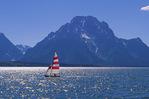 Sailing Jackson Lake below Mt. Moran