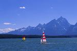 Sailing Jackson Lake below the Grand Tetons