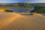 Sand dunes, basalt cliffs, and Columbia River
