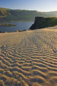 Sand dunes, basalt cliffs, and Columbia River