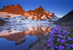 Broken Top Mountain and moraine-dammed lake with penstemon
