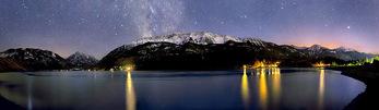 Wallowa Lake under the Milky Way and sunset afterglow