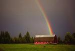Rainbow and barn