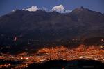 City of Huaraz and peaks of the Cordillera Blanca