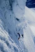 Climbing under cornices on Nevado Huantzan