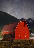 Barn below the Wallowa Mountains and Milky Way