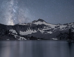 Night sky reflection at Glacier Lake