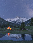 Backpacker camp under the stars in the Eagle Cap Wilderness