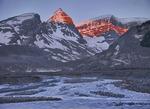 Snow Dome at sunrise and Sunwapta River