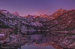 742900282 sunrise lights up the top peaks of the sierras above lake sabrina in the high sierras west of bishop in central california. extensive coverage of numerous north american parks and other geographic locations.