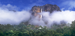 940000004 Angel Falls the tallest waterfalll in the world and Auyan tepui  rise up from the clouds and tropical rain forest in the wild and remote Lost World area of Canaima National Park, Venezuela