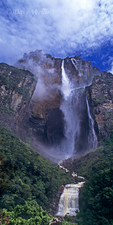 940000011 Angel Falls the tallest waterfalll in the world and Auyan tepui one of the sky islands rise up from the clouds and tropical rain forest in the wild and remote Lost World area of Canaima National Park, Venezuela