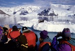 Antarctic tourists photographing leopard seal from Zodiac