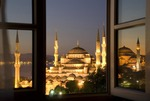 Istanbul's Blue Mosque at dawn from hotel window