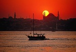 Bosphorus sunset over Aya Sofya (Hagia Sophia)