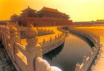 Beijing's Forbidden City  (Imperial Palace Museum) Golden River with marble balustrades and Meridian Gate