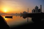 Taj Mahal on Yamuna River at dawn