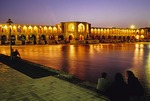 Isfahan's Khaju Bridge on Zayande (Zaindeh) River at night