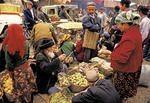 Xinjiang's Kashgar Sunday bazaar Uygurs (Uighurs).