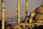 Blue Mosque with freighter on Bosphorus