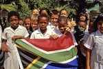 Children with South African National flag in Johannesburg