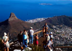 Cape Town's Table Mountain overlooking city with Lion Peak and Robben Island