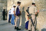 Jerusalem's Western Wall (Wailing Wall) with Israeli soldiers praying