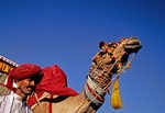 Rajasthan man with camel at annual Jaisalmer Desert Festival