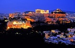 Acropolis with the Parthenon at night viewed from Philoppapou Hill
