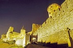 Carcassone Castle at night from below outer wall