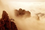 Huangshan (Yellow Mountain) peaks in Xihai (West Sea) clouds