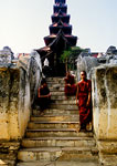 Ava's Bagayar Monastery with resident monks near Mandalay