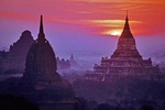 Bagan sunrise over ancient holy temples on Bagan Plains.