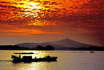 Lake Tai Hu near Wuxi with boat in early morning