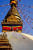 "Kathmandu's Swayambhunath Pagoda (aka ""Monkey Temple"") with men whitewashing dome"