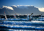Cape Town Windsurfers at Big Bay with Table Mountain in background