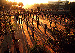 Xi'an morning exercises near south wall of city