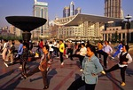 Shanghai' Peoples Square with morning exercise group