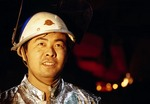 Shanghai steel worker at Baoshan Iron and Steel forge