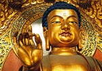 Hangzhou's golden Sakyamuni Buddha in Lingyin Temple's (Temple of the Soul's Retreat) Grand Hall