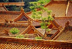 Beijing's Forbidden City (Imperial Palace Museum) rooftops in residential area