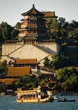 Beijing's Summer Palace Longevity Hill with tourist cruise dragon boat on Kunming Lake