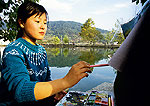 Hongcun village student painter in Yi County near Huangshan (Yellow Mountain)