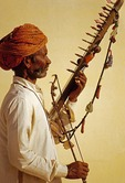 Rajasthani folk musician with rawanhatha stringed instrument in Mandawa, Rajasthan's Shekhawati region