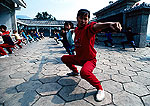 Shaolin Temple's Martial Arts Guild Training Center students in morning practice session