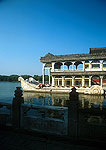 Summer Palace's Marble Boat built in late Qing dynasty for the Dowager Empress Cixi on edge of Kunming Lake