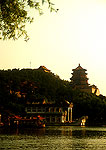 Summer Palace's Longevity Hill with Marble Boat at bottom on shore of Kunming Lake