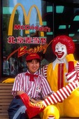 Beijing McDonald's employee with Ronald McDonald