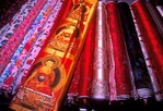 Silk cloth for sale in shop in Sichuan